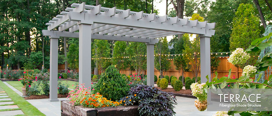 Gray contemporary fiberglass pergola kit on bluestone patio for shade